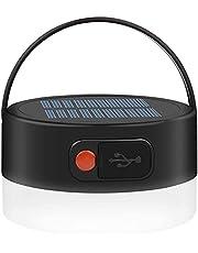 Solcellscampinglampor, laddningsbar vattentät solcellslampa, 4 lägen utomhus tältlykta, bärbar LED-tältlampa för nödsituationer, camping, vandring, fiske, utomhusresor (svart)