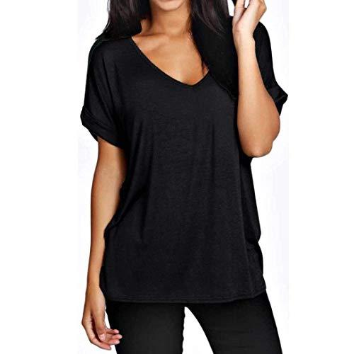 Shirts Uni Femme Chemise Qualit Manche De V Cou Haute Et Blouse Confortable Blouse Elgante Schwarz Casual Chic Manches Mode Courtes Haut nq4I5vUW