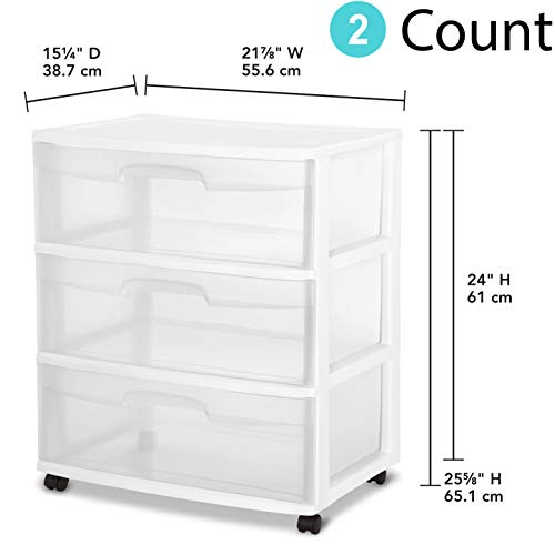 STERILITE 29308001 Wide 3 Drawer Cart, White Frame with Clear Drawers and Black Casters (21.88 Inches(Pack o 2)) (Sterilite 3 Drawer Cart Black)