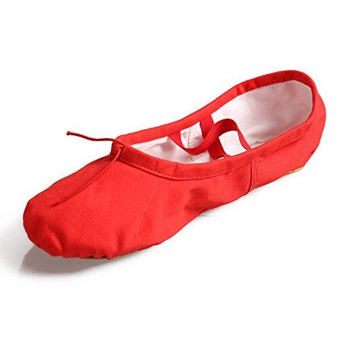Ballett Leinen Jinfengkai schläppchen Ballettschuhe Rot aus q0xg7wS