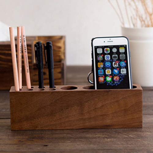 SODIAL Wooden Beech Card Holder Cell Phone Business Card Storage Box Desktop Pen Holder Office Table Top Storage Box by SODIAL (Image #5)