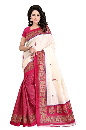 Shonaya Women`S Bhagalpuri Silk Printed Saree with Unstitched Blouse Piece (Pink2) by Shonaya