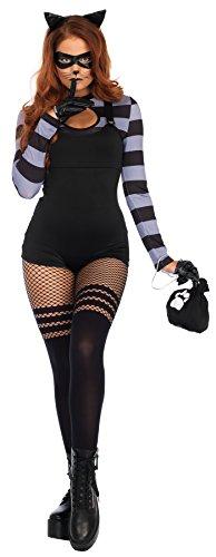 UHC Women's Sexy Cat Burglar Outfit Adult Fancy Dress Halloween Costume, L (Woman Burglar Halloween Costume)