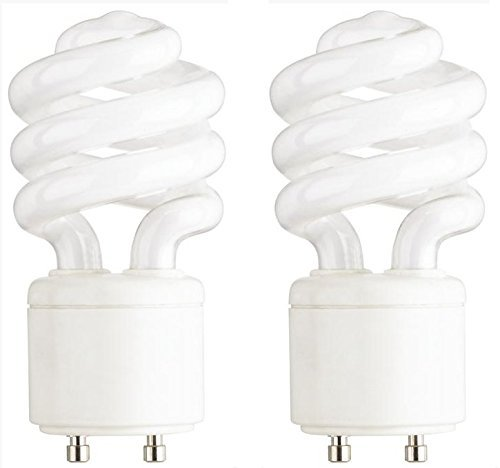 - 13-Watt Mini Compact Fluorescent Light Bulb GU24 Base Twist and Lock, Soft White - 2 Pack