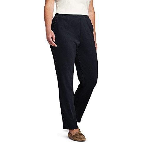 Lands' End Women's Plus Size Petite Sport Knit Pants, 1X, Black