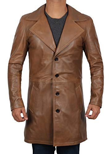 Decrum Mens Jackson Winter Outerwear Antique Real Leather Brown Car Coat Jacket | [1500257] XXXL