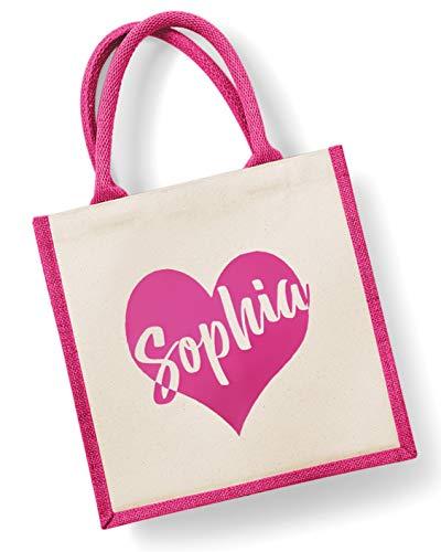 Personalised Name Jute Bag 30x30cm Customised Printed Shopper Tote Teacher Gift