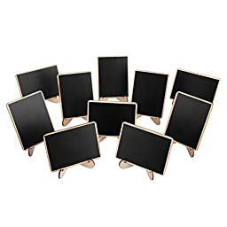 officematters Mini Blackboard with Support Easel for Message Board Signs Parties, Rectangle, Set of 10