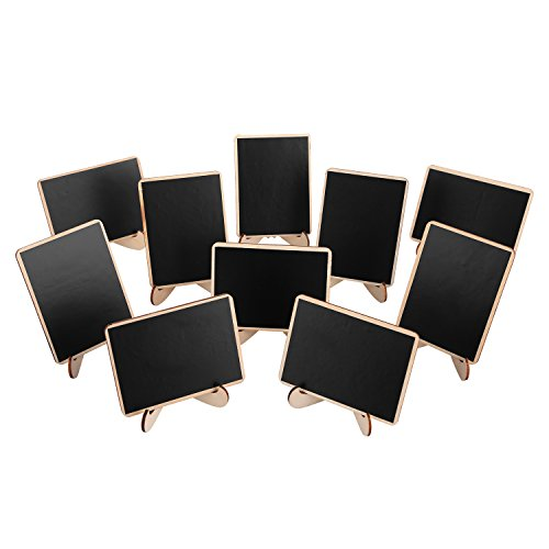 officematters Wood Mini Blackboard with Support Easel for Message Board Signs Parties, Rectangle, Set of 10 (Napkins Christmas Folding)