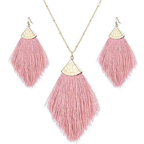 Tassel Fringe Earrings Necklaces Set Boho Statement Drop Colorful Fan Feather Shape Thread Dangle Earrings Long Necklace for Women (Silky Jewelry Set-Pink) -