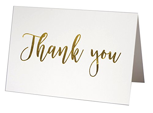 100 Thank You Cards Bulk Pack notes Set Box - Blank - Gold Foil -100 White Paper Envelopes 4 x 6 Inches - Personal and Business use - Bridal and Baby showers