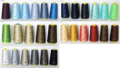 Assorted Colours 100% Polyester Threads Appx 3000m - Cold Colors (No.37 Military Green)