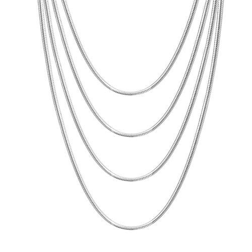 VNOX Stainless Steel Round Snake Chain Necklace for Women Girl, 2mm,Set of 4 ()