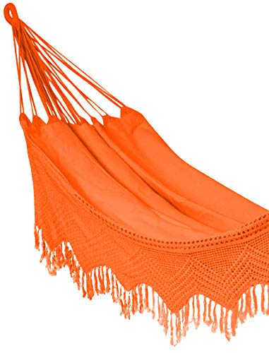 Hygge - 100% Natural Cotton Brazilian Hammock with Crochet Fringes Perfectly Suits Two Adults| Perfect for Your Garden and Patio! (Size - Double) (Orange) - 100% Natural and Handmade: This hammock is made from 100% natural high-grade cotton. This is a traditional South-American hammock coupled with fine craftsmanship made with the women folk. This fabric is made from power-loom material. Double size: This hammock seats two individuals. Dimensions: Bed Width: 51 inches; Bed Length: 79 inches; Maximum carry capacity is 450 pounds. A hand crochet fringe that adds an elegant touch to your surroundings and never fails to please the eye! - patio-furniture, patio, hammocks - 41YZvsElSXL -