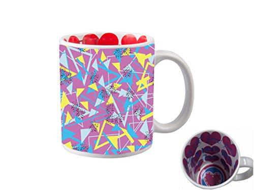 (I LOVE YOU INSIDE PRINT 11 ounce Ceramic Coffee Mug Tea Cup/Yellow And Blue Triangles Retro Design)