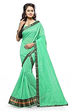 S Kiran's Women's Malai Cotton Sea Green Mekhla Chador - Mekhela Sador Saree - Dn 2mc