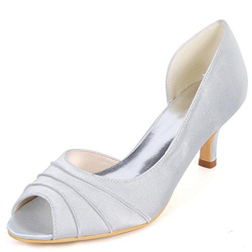 Pies Flores Pío En Boda Zapatos Tacón Corte Blancos 6cm Mujeres De yc Las Silver L Grueso Los Bombas 7BvxqFwq