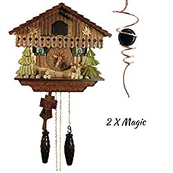 Qwirly 2 Item Decor Bundle: STERNREITER Edelweiss Black Forest Cuckoo Clock Model 1316QM & Optical Illusion Spinner