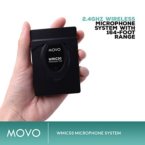 Movo WMIC50 2.4GHz Wireless Lavalier Microphone System with Integrated 164-foot Range Antenna (Includes Transmitter with Belt Clip, Receiver with Camera Shoe, Lavalier and 2 Earphones) by Movo (Image #1)