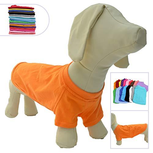 Lovelonglong 2019 Pet Clothing Dog Costumes Dachshund Clothes Blank T-Shirt Tee Shirts for Dachshund Dogs,Corgi 100% Cotton Orange D-L -
