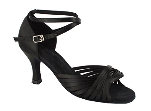 Dance Sandals Cross Tango Salsa High Evening Knot TDA Black Strap Heel Wedding Ballroom Ankle Women's Latin qABxwO16