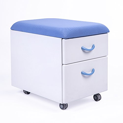 Sunon Mobile File Cabinet Soft Cushion Seating Pedestal Cabinet with  2-Drawer for Kids/Children Storage (Blue)