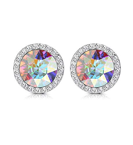 KesaPlan Crystals Stud Earrings for Women, Made of Swarovski Crystals, Round-Cut Halo Swarovski Crystals Earrings Set with Sterling Silver Post, Hypoallergenic Jewelry
