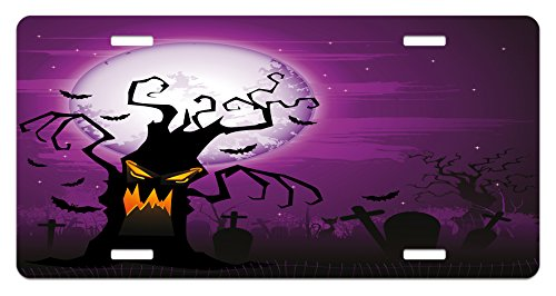 Lunarable Halloween License Plate, Scary Tree Creepy Human Face and Twiggy Arm Grunge Cemetery Scene Drawing Art, High Gloss Aluminum Novelty Plate, 5.88