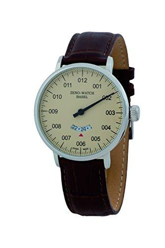 Zeno Pilot Quar Beige Dial Leather Strap Men's Watch C0073ZB