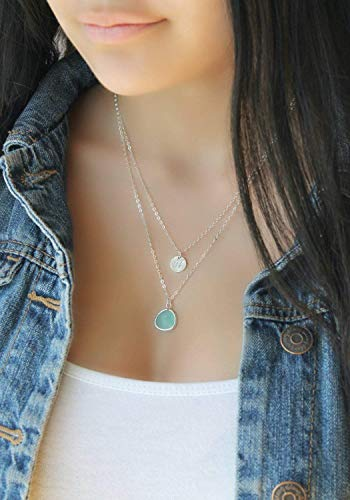 Sterling silver Layered Initial Necklace, crystal clear, aquamarine, sea-foam green, cracked mint, personalized Double chain,multi strand