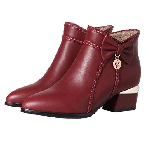 AIYOUMEI Damen Blockabsatz High Heels Stiefeletten mit 5cm Absatz Bequem Reißverschluss Stiefel Winter Schuhe Weinrot