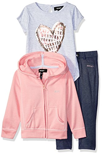 DKNY Baby Girls 3 Piece Heart T-Shirt, Hoodie, and Pant Set, Pink Icing, 12M -