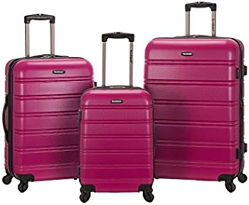 Rockland Melbourne 3 Piece Abs Luggage Set (Magenta)