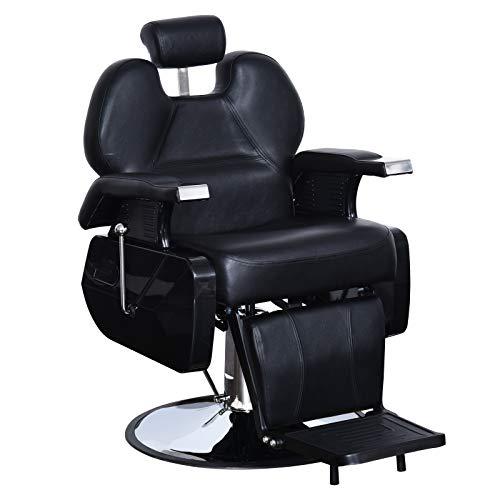BarberPub All Purpose Hydraulic Recline Barber Chair Salon Beauty Spa Styling Equipment Black 6154-S8702BK (Salon Chair Footrest Replacement)