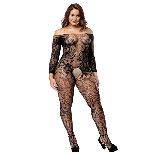Deksias Large Flower Fisnet Crotchless Bodystocking Plus Size Bodysuit with Sleeves(One (Body Stockings Plus Size)