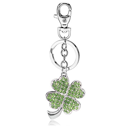 Liavy's Green Irish 4 Leaf Clover Charm Fashionable Keychain - Sparkling Crystal - Long Chain (Clover Key Charm)