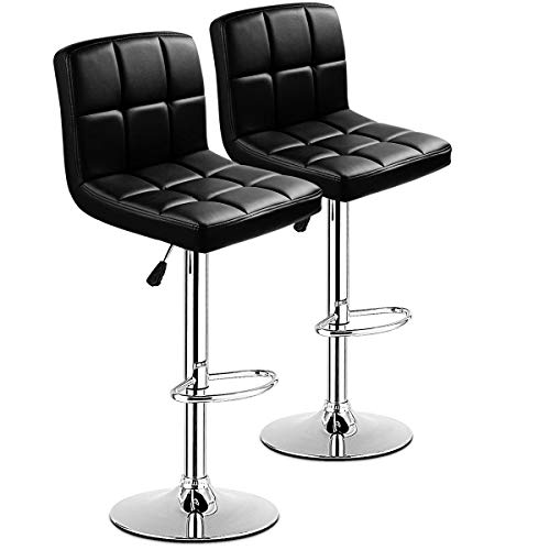 (COSTWAY Bar Stool, Modern Swivel PU Leather stools Adjustable Height Bistro Pub Counter Barstool Set of 2 (Black))