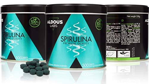 Espirulina Ecológica Premium para 165 días - 500 comprimidos de 500mg con 99% BIO Spirulina - Vegano, Saciante, DETOX - Libre de Plástico - ...