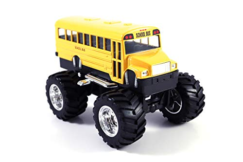 (HCK Classic School Bus Big Wheels - Off Road Monster Truck Pull Back Toy Cars 1:42 Scale (Yellow))