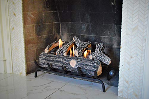 Flame Gel Fireplace - Terra Flame Gel Log Set Fireplace Insert, 24 Inch, Brown