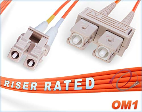 FiberCablesDirect - 7M OM1 LC SC Fiber Patch Cable | 1Gb Duplex 62.5/125 LC to SC Multimode Jumper 7 Meter (22.97ft) | Length Options: 0.5M-300M | 1gb 10gb mmf dx lc-sc 1gbase sr ofnr om1-sc-lc ()
