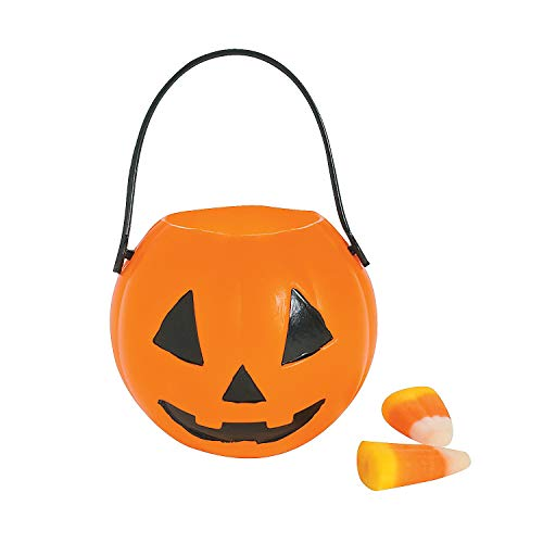 Fun Express - Mini Plastic Pumpkin Buckets (dz) for Halloween - Party Supplies - Containers & Boxes - Plastic Containers - Halloween - 12 Pieces