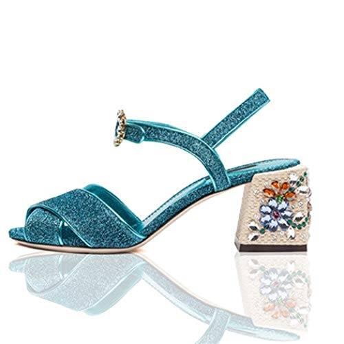 New Crystal Buckle Sandals Women Jeweled Heels Bling Cross Belt Chunky High Heels Shoes Woman Ladies Summer Gladiator Sandals Blue