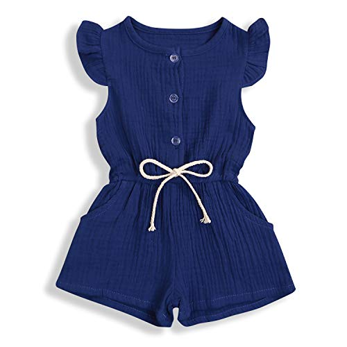 YOUNGER TREE Toddler Baby Girls Linen Outfits Summer Short Flying Sleeve Solid Color Jumpsuit (Navy, 3-4T)