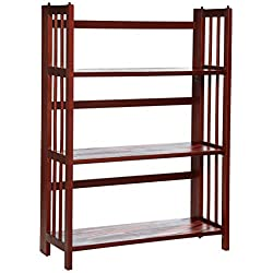 "Casual Home 3-Shelf Folding Stackable Bookcase (27.5"" Wide)-Walnut"