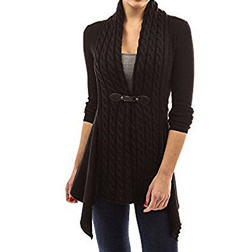Belted Cotton Sweater - xhorizon FL1 Women's Fashion Belted Knitted Long Sleeve Blouse Tops Sweater Cardigan (Black,M)