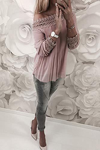 Para Otoño Fasumava Encaje Los Primavera Camiseta De Fuera Hombros Rosa Mujer Gasa Elegante w4w0BIT1qc