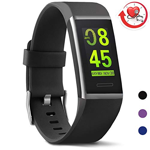 MorePro X-Core Fitness Tracker HR, Waterproof Color Screen Activity Tracker with Heart Rate Blood Pressure Monitor, Smart Wristband Pedometer Watch with Step Calories Counter (Dark Black)