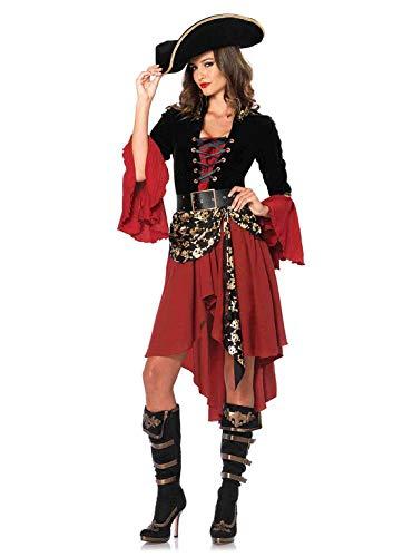 Leg Avenue Women's 2 Piece Cruel Seas Captain, black/Burgundy, Small