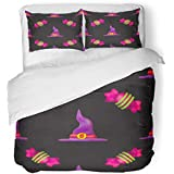 Emvency Bedding Duvet Cover Set King Size (1 Duvet Cover + 2 Pillowcase) Purple All Plasticine for Halloween Dark Pattern Fills and Saints Day Candy Children Hotel Quality Wrinkle and Stain Resistant